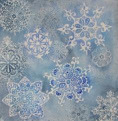 "Blue Batik (freehand mandalas) - Watercolor on Arches, 9""x9"", 150 USD"