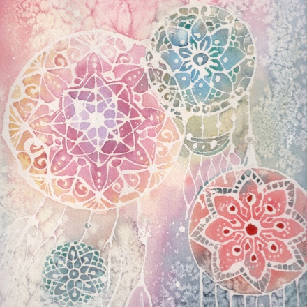 Dreamcatchers – (freehand mandalas) – Watercolor on Arches, 9″x9″, 150 USD